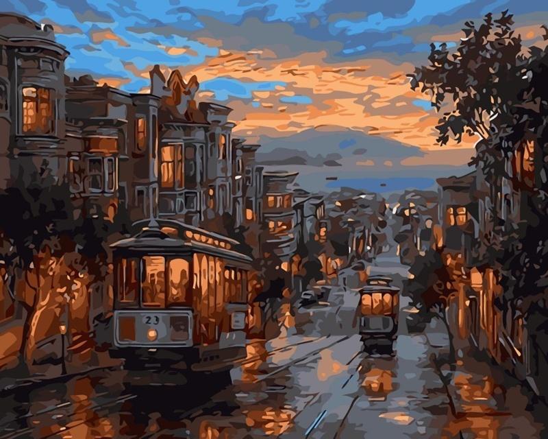 Вышивка ночной трамвай 44